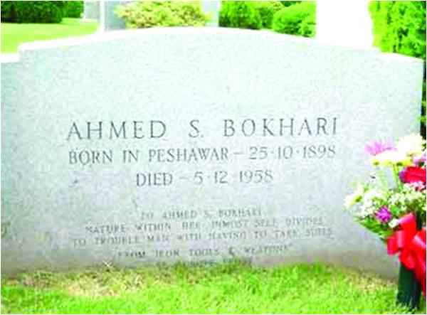 Ahmed Shah Patras Bokhari is buried at a cemetery in New York